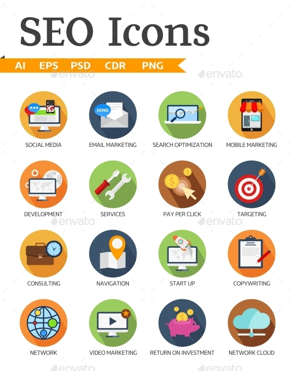 GraphicRiver SEO and Business Icons 10962509