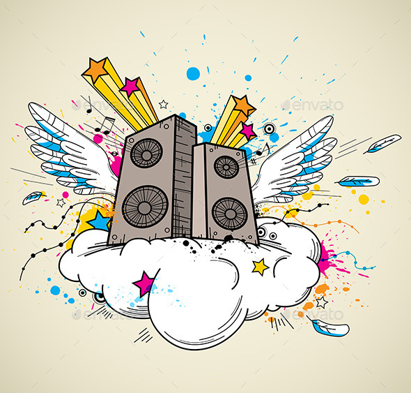GraphicRiver Music Speakers and Cloud 10962533