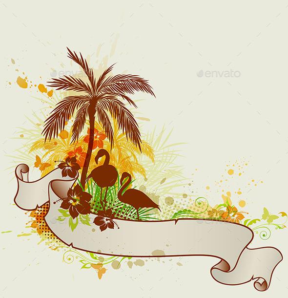 GraphicRiver Palms and Flamingo 10962546