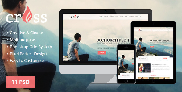 ThemeForest Cross Church PSD template 10936654