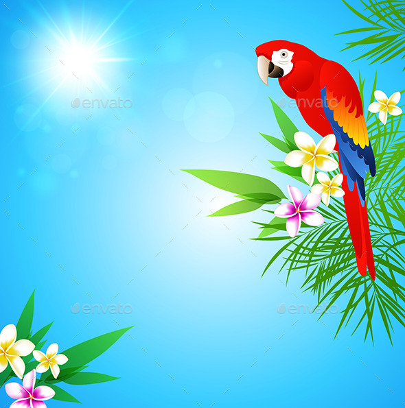 GraphicRiver Tropical Background with Red Parrot 10962597
