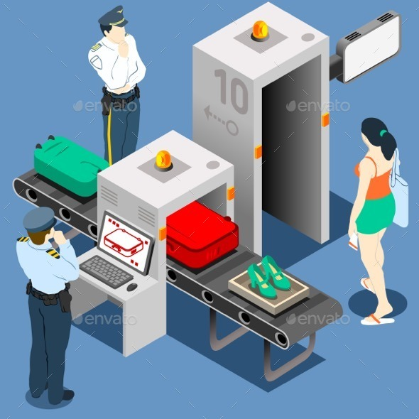 GraphicRiver Isometric Security Checkpoint Machine 10962838