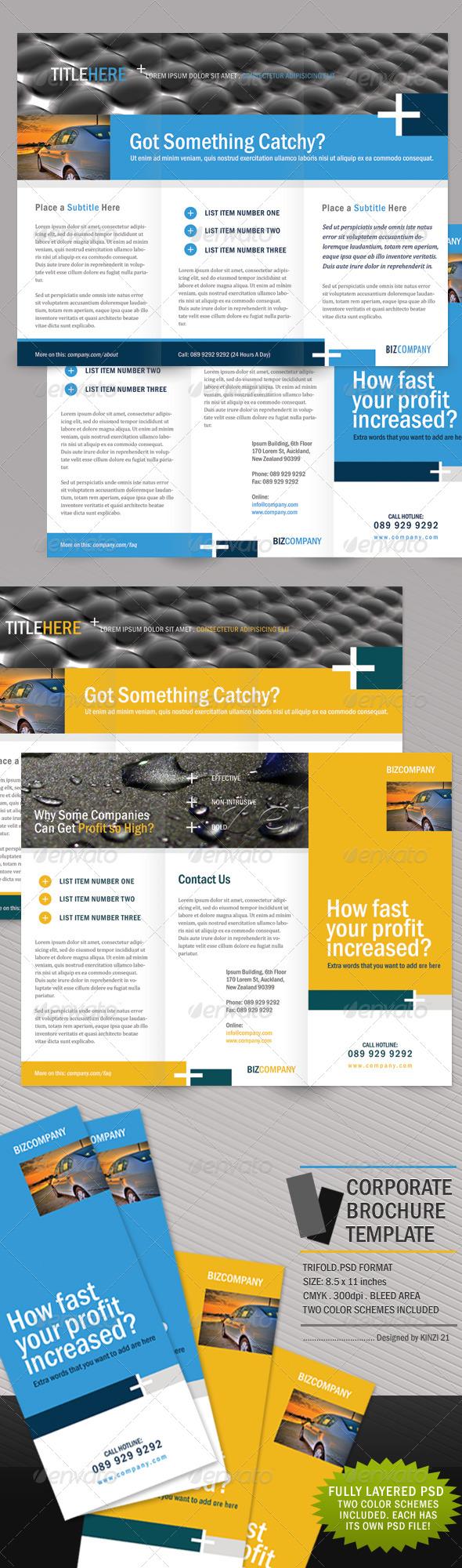 Clean Corporate Brochure - Trifold - Corporate Brochures