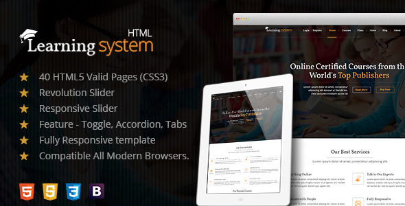 ThemeForest Learning Management System A Premium HTML Template 10869741