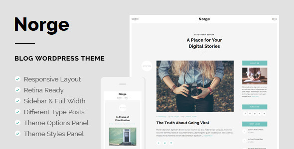 ThemeForest Norge Responsive Blog WordPress Theme 10963233