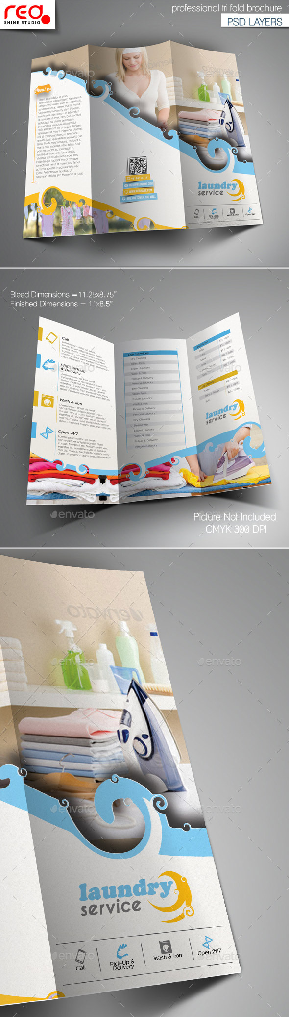 GraphicRiver Laundry Service Trifold Brochure Template 10963244