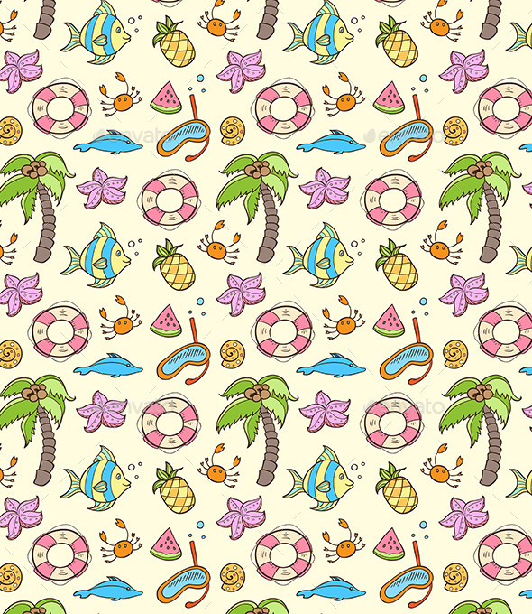 GraphicRiver Summer Seamless Pattern 10963249