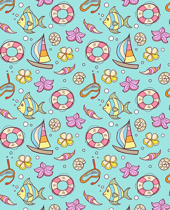 GraphicRiver Summer Marine Seamles Pattern 10963946