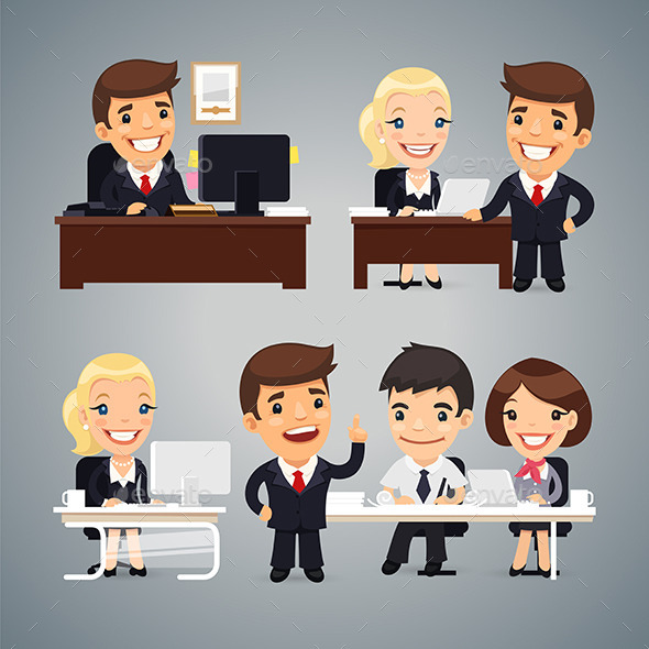 GraphicRiver Businessmen at the Table Teamwork 10957169