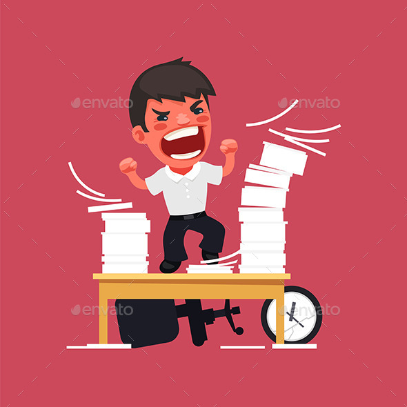 GraphicRiver Angry Manager Working at the Office 10957166