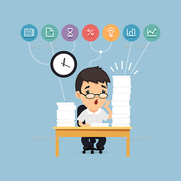 GraphicRiver Sad Manager Working at the Office 10957168