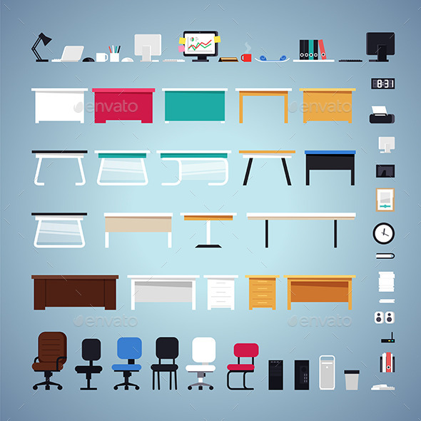 GraphicRiver Office Furniture Set 10957164