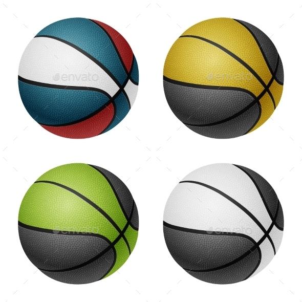 GraphicRiver Combination Colored Basketballs 10964107