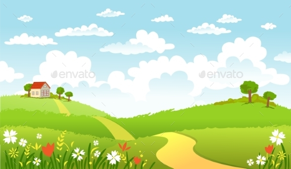GraphicRiver Green Landscape and the Road 10964206