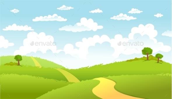 GraphicRiver Green Landscape and the Road 10964209