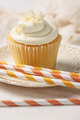 Closeup of vanilla cupcake with straws - PhotoDune Item for Sale
