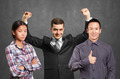 Asian team and businessman with hands up - PhotoDune Item for Sale