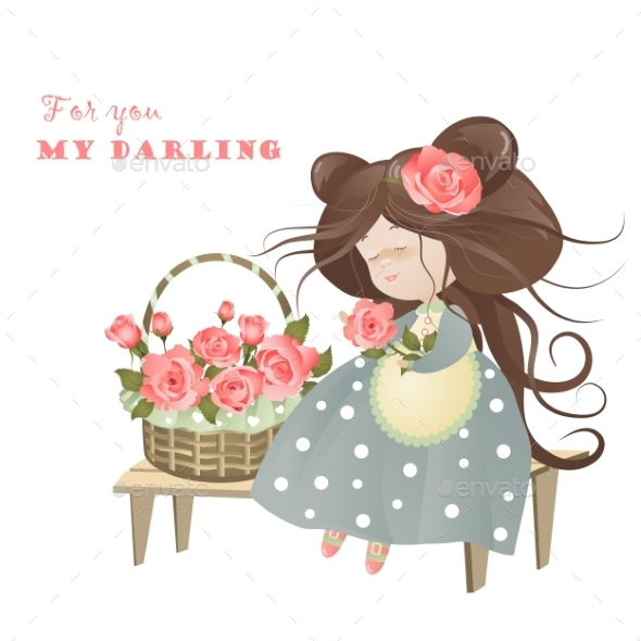 GraphicRiver Girl with Basket of Roses 10966164