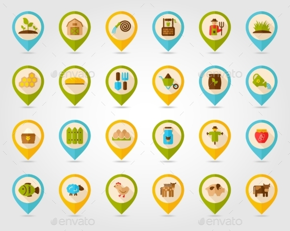 GraphicRiver Farm Garden Flat Mapping Pin Icons 10966192