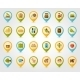 Farm Garden Flat Mapping Pin Icons