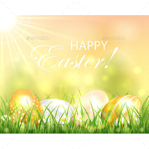GraphicRiver Easter Background with Shiny Eggs 10966551