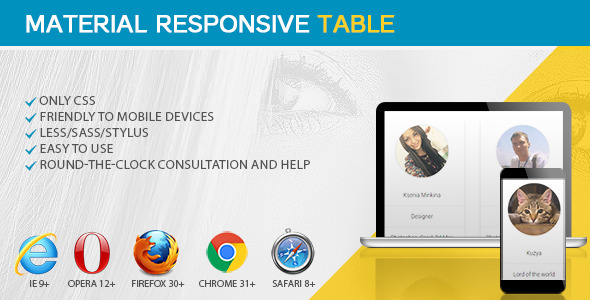 Material responsive table css codecanyon for Material design table css