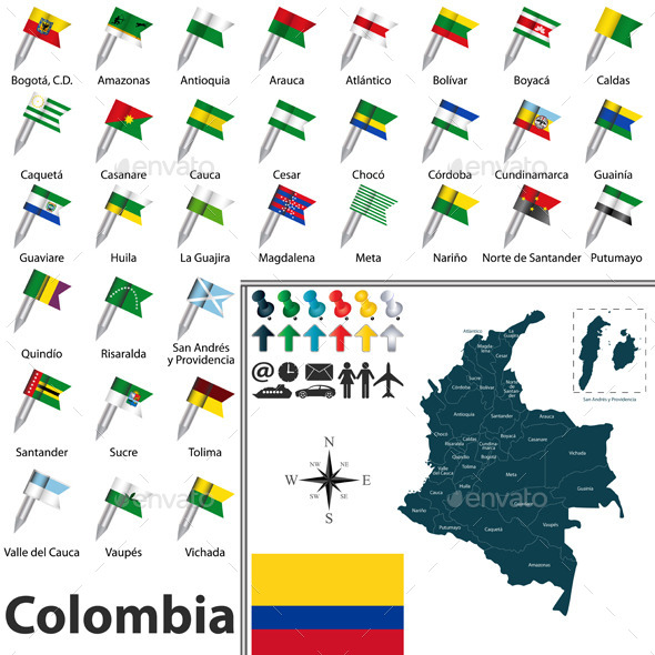 GraphicRiver Map of Colombia 10966645
