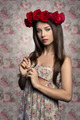 lovely girl with roses on head - PhotoDune Item for Sale
