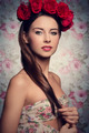 brunette woman with roses on head - PhotoDune Item for Sale