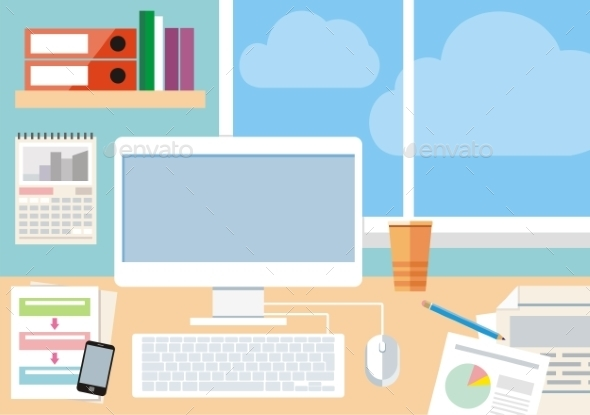 GraphicRiver Workplace with Computer 10967634