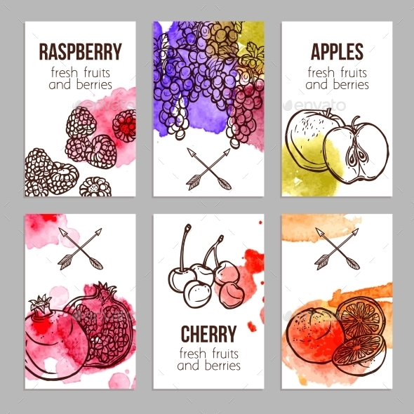 GraphicRiver Cards With Fruits 10967754