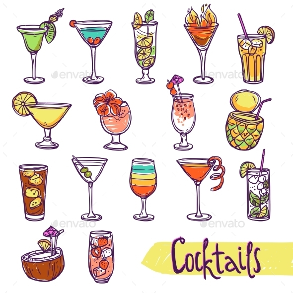 GraphicRiver Cocktail Sketch Set 10967761