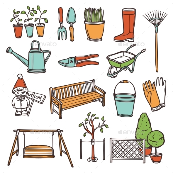 GraphicRiver Gardening Tools Set 10967765