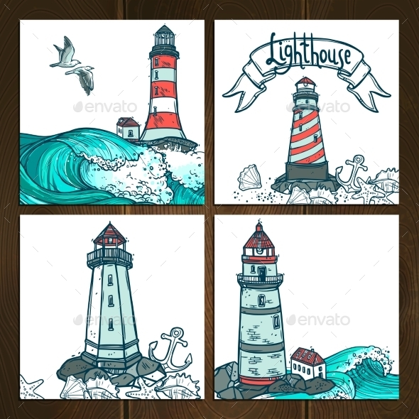 GraphicRiver Lighthouse Cards Set 10967782