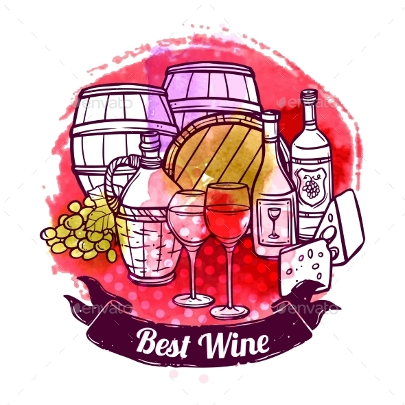 GraphicRiver Wine Sketch Illustration 10967826