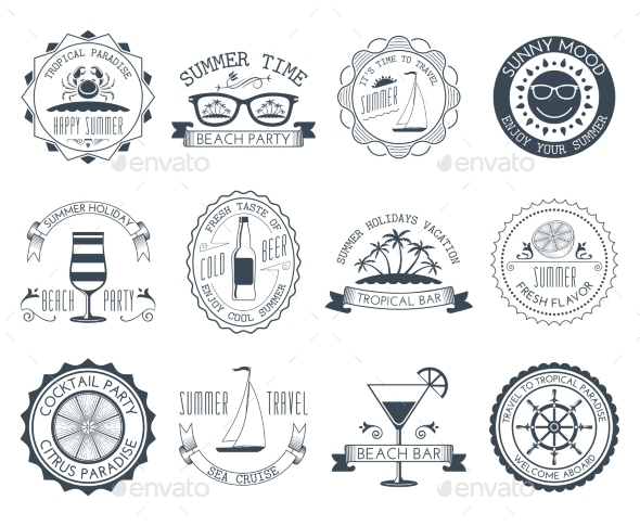 GraphicRiver Summer Vacation Emblems Set 10967869