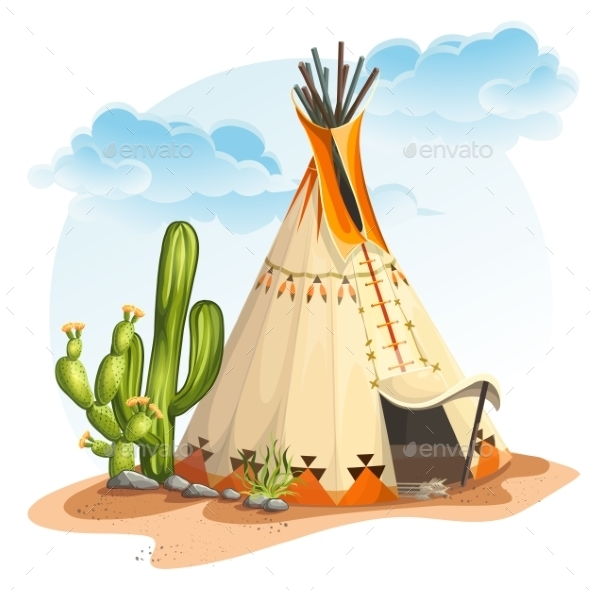 GraphicRiver Illustration of the North American Indian Tipi Hom 10967873
