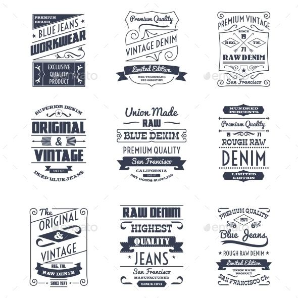 GraphicRiver Denim Typography Logo Emblems Set 10967882
