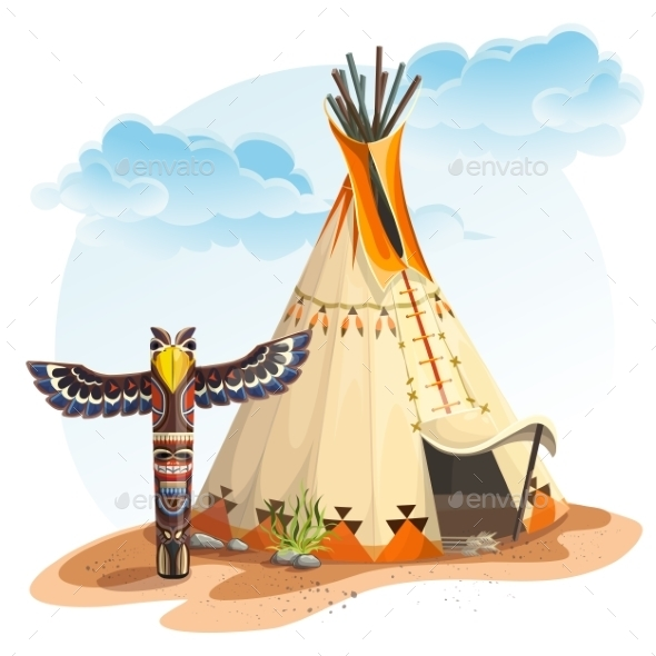 GraphicRiver North American Indian Tipi Home with Totem 10967883