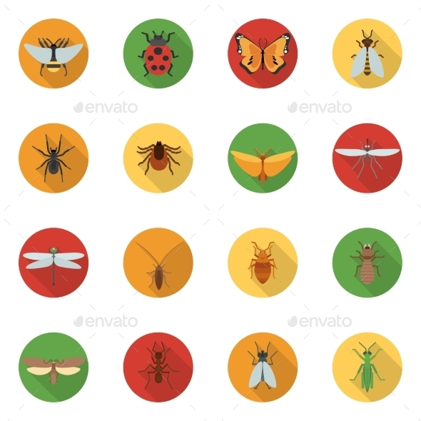 GraphicRiver Insects Icons Flat 10967898