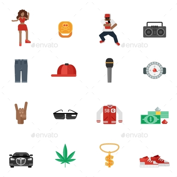 GraphicRiver Rap Music Flat Icons 10967900
