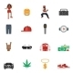 Rap Music Flat Icons - GraphicRiver Item for Sale