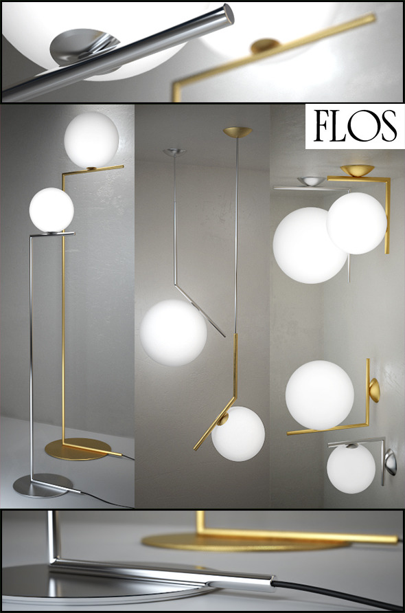 3DOcean IC Lights floor suspension ceiling wall by Flos 10967902