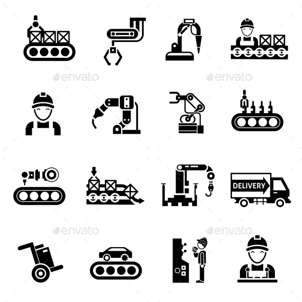 GraphicRiver Production Line Icons Black 10967905