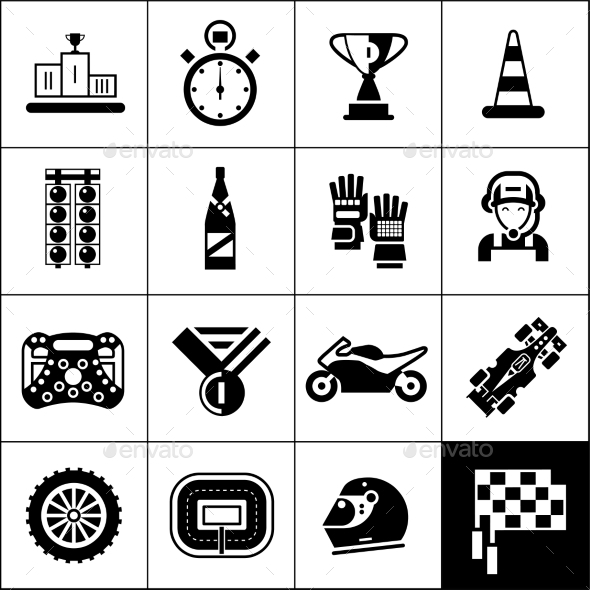 GraphicRiver Racing Icons Black 10967911