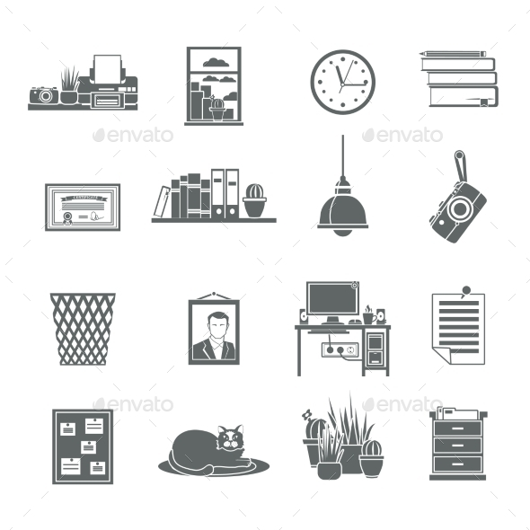 GraphicRiver Workplace Icons Set 10967930