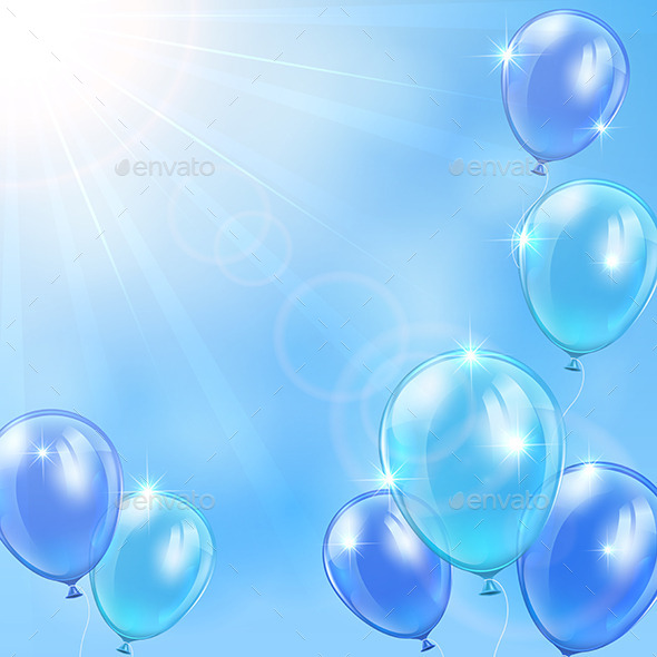GraphicRiver Blue Balloons on Sky Background 10967947