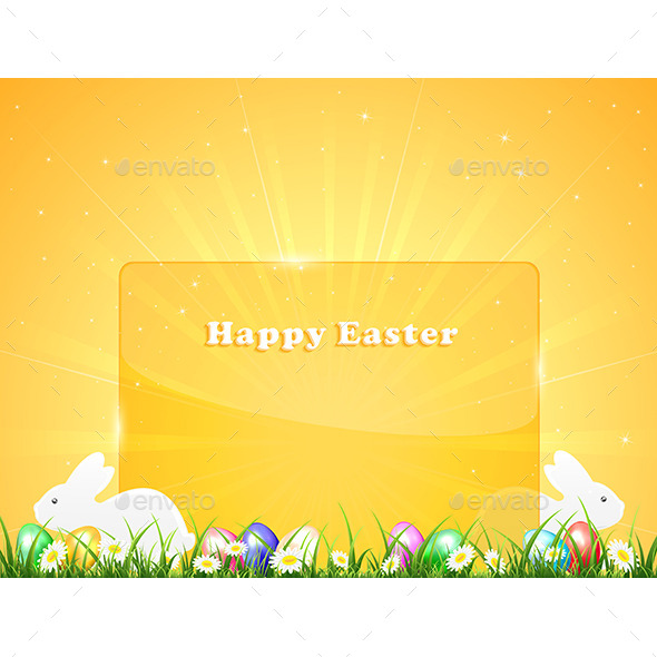GraphicRiver Easter Background with Banner and Rabbits 10968245