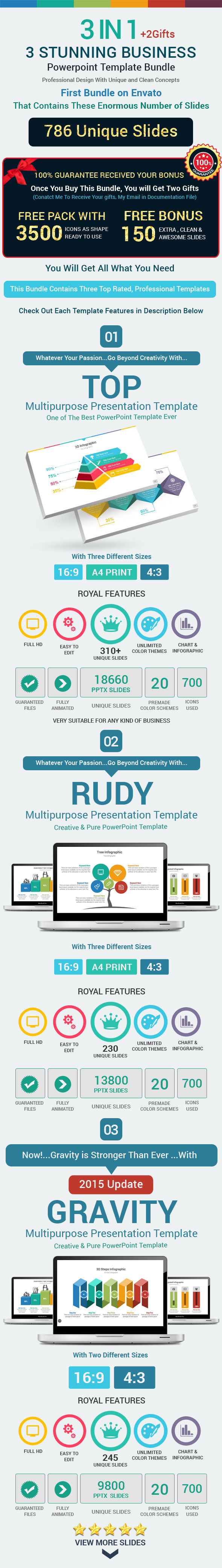 GraphicRiver 3 Stunning Business Powerpoint Template Bundle 10968389