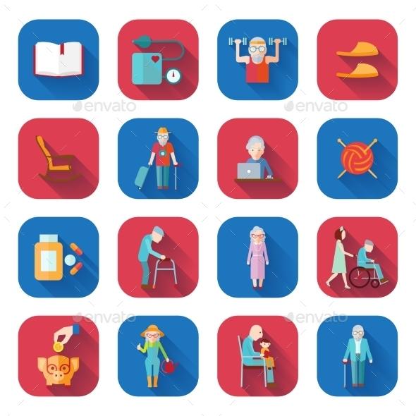 GraphicRiver Senior Lifestyle Flat Icons 10968585